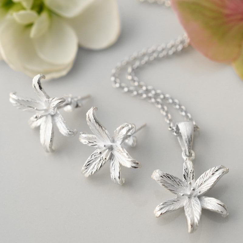 Silver Lily Flower Star Jewellery Set by Martha Jackson