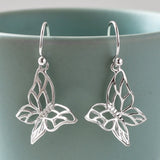 Silver Butterfly Drop Earrings by Martha Jackson