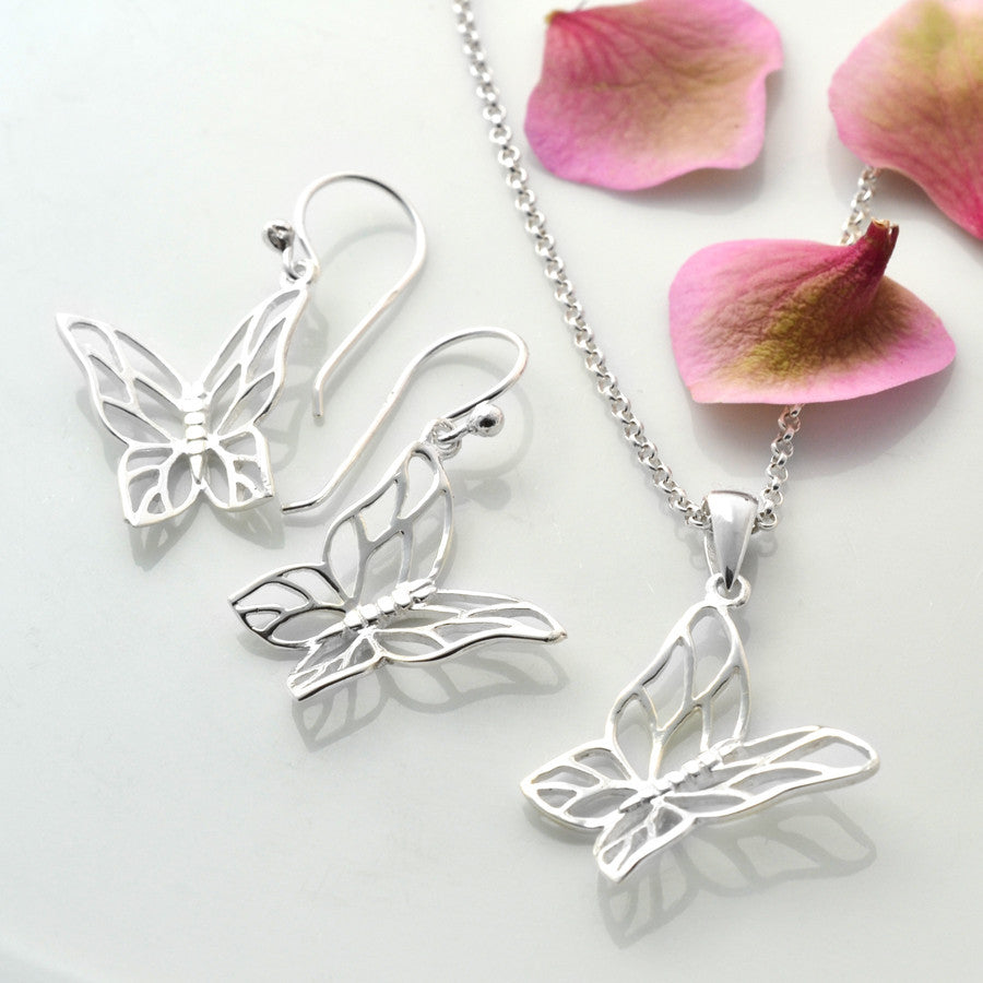 Silver Butterfly Jewellery Set by Martha Jackson