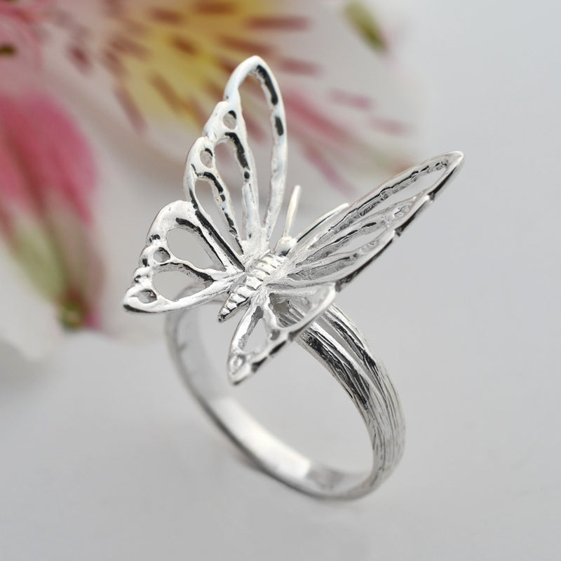 Silver Butterfly Ring by Martha Jackson