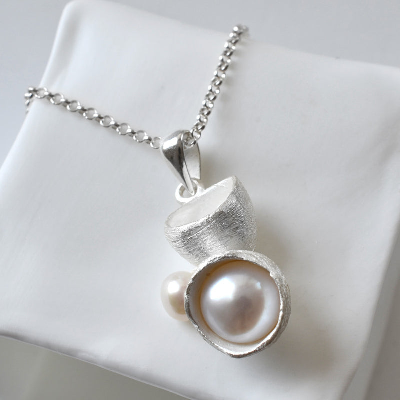 Silver Pearl Cup Necklace by Martha Jackson