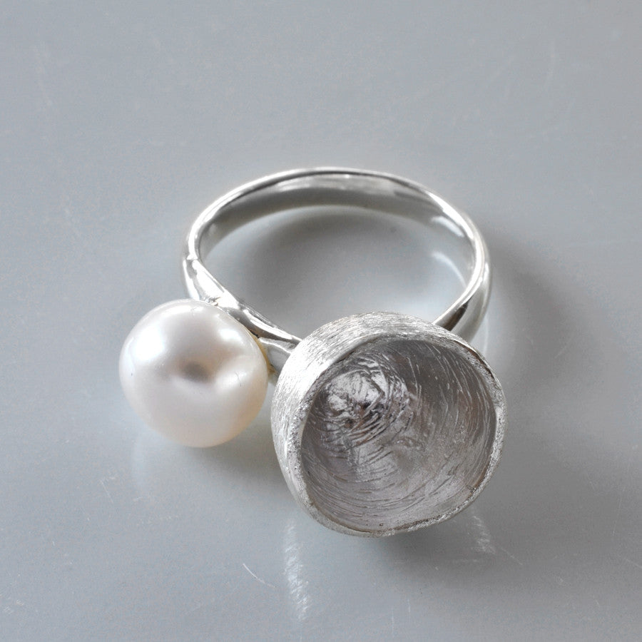 Silver Pearl Cup Ring by Martha Jackson
