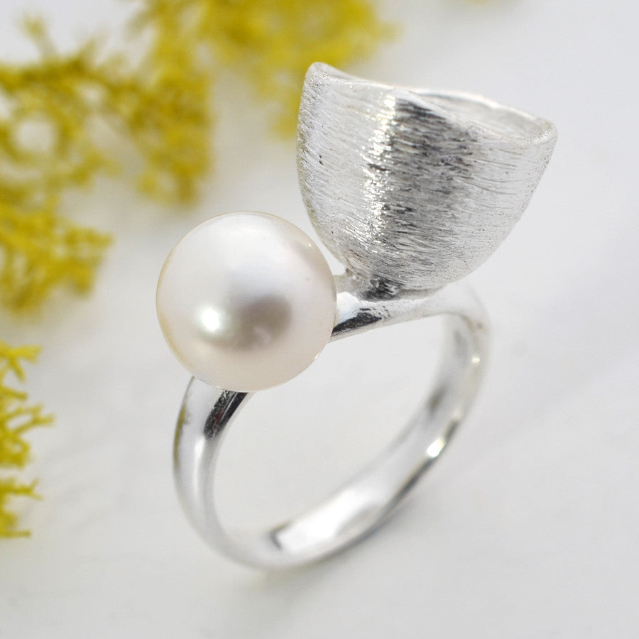 Silver Pearl and Cup Ring by Martha Jackson