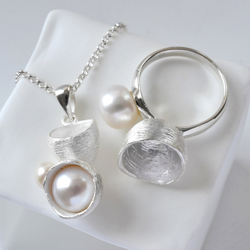 Silver Pearl Cup Jewellery Set by Martha Jackson