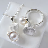 Silver Pearl and Cup Jewellery Set by Martha Jackson