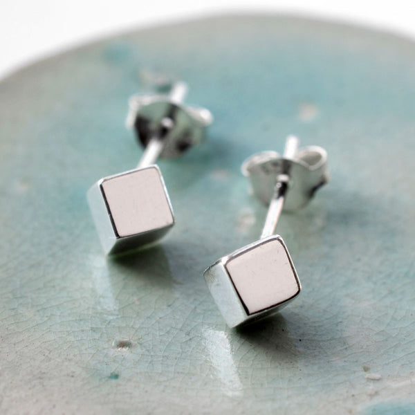 Silver Box Stud Earrings