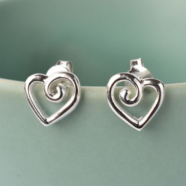 Silver Spiral Heart Stud Earrings