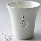 Small Silver Tree of Life Necklace And Earrings Jewellery Set