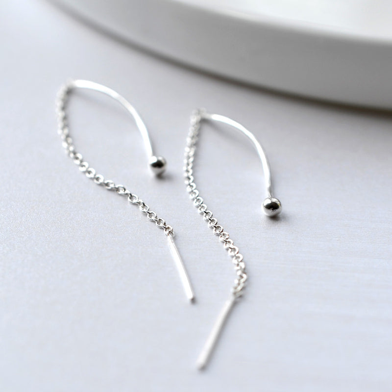 Silver Wave Pull Through Chain Earrings