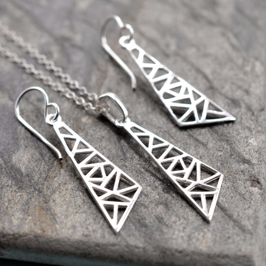 Silver Geometric Drop Triangle Jewellery by Martha Jackson