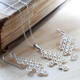 Silver Honeycomb Cubes Necklace