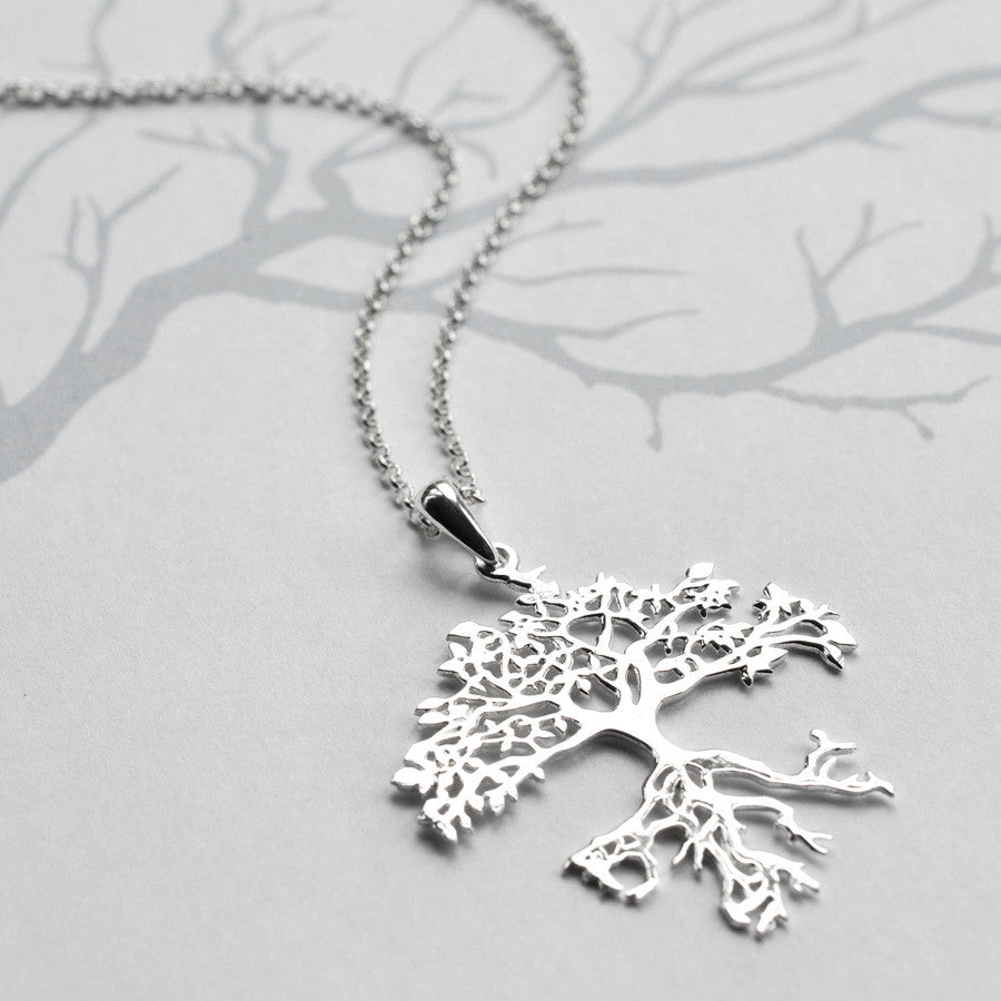 tree life stone treependantback pendant silver salt products ss wishing of