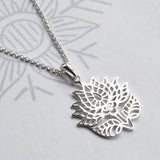 Sterling Silver Flowering Lotus Necklace