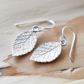 Silver Mint Leaf Earrings