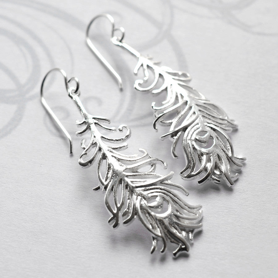 Silver Peacock Feather Jewellery by Martha Jackson