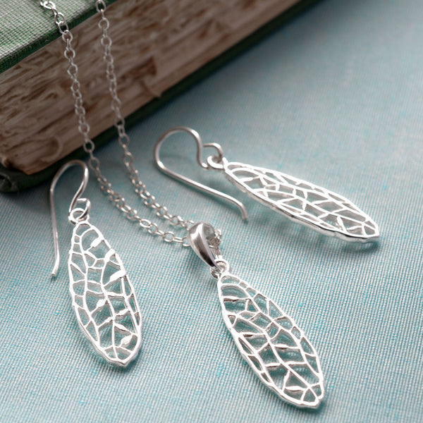 Silver Dragonfly Wing Jewellery Set by Martha Jackson