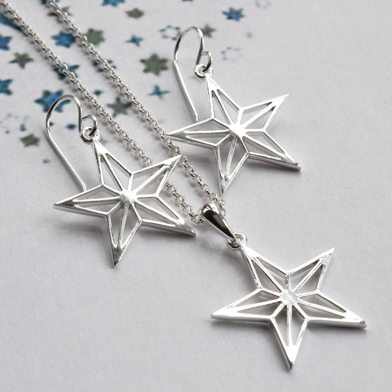 Silver Geometric Star Earrings