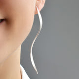 Elongated Silver Ribbon Earrings