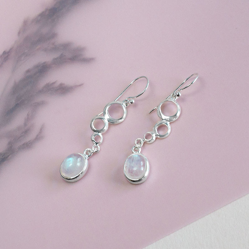 Sterling Silver Moonstone and Circles Earrings