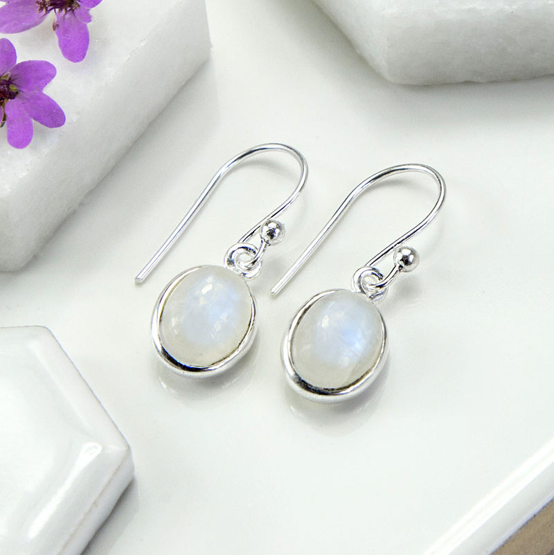 Silver Or Gold Moonstone Oval Earrings