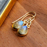 Gold Plated Labradorite Teardrop Earrings