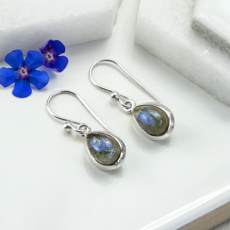 Sterling Silver Labradorite Teardrop Earrings