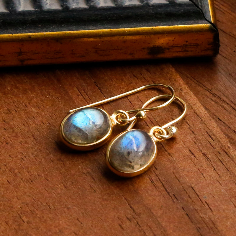 Gold Plated Labradorite Oval Earrings