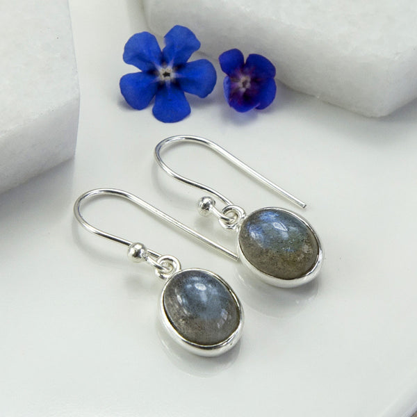 Silver Or Gold Labradorite Oval Earrings