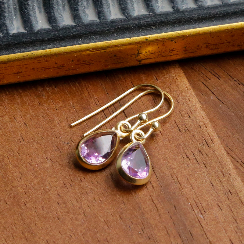 Gold Plated Amethyst Teardrop Earrings