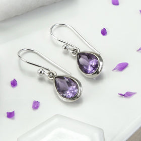 Silver Or Gold Amethyst Teardrop Earrings