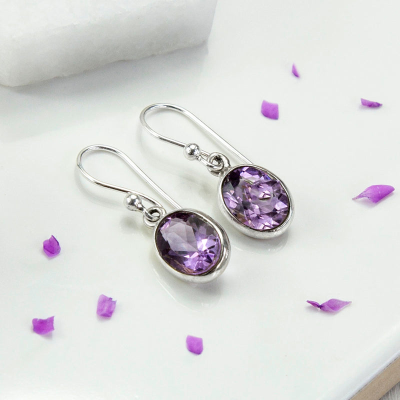 Sterling Silver Amethyst Oval Earrings