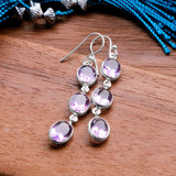 Sterling Silver Long Amethyst Earrings