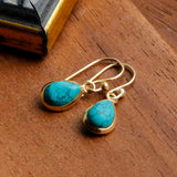Gold Plated Turquoise Teardrop Earrings