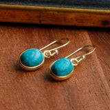 Sterling Silver Turquoise Oval Earrings