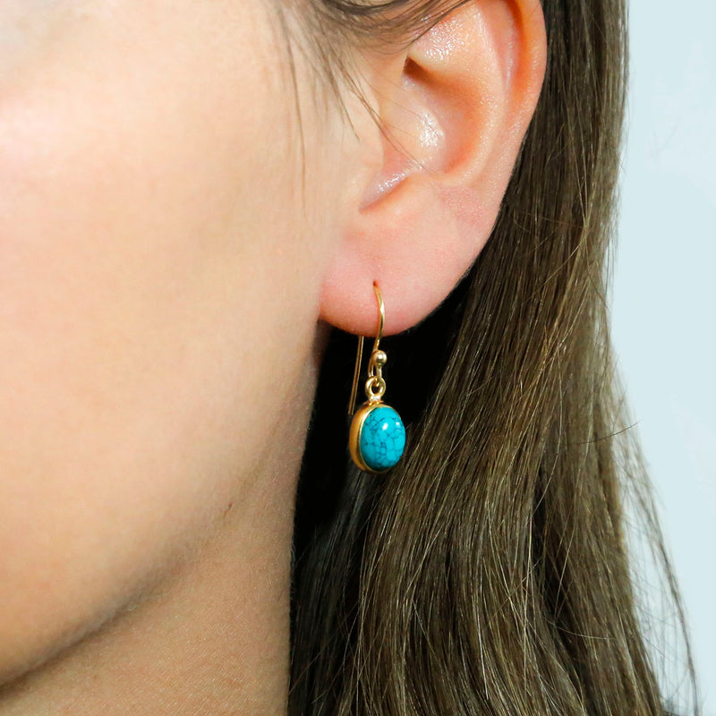 Gold Plated Turquoise Oval Earrings