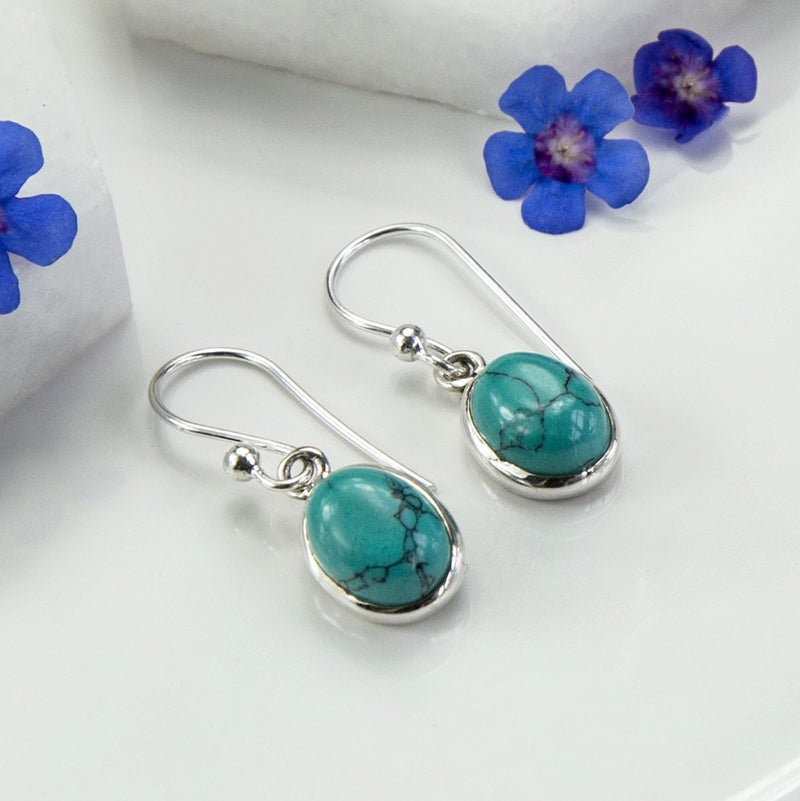 Silver Or Gold Turquoise Oval Earrings