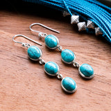 Sterling Silver Long Turquoise Earrings