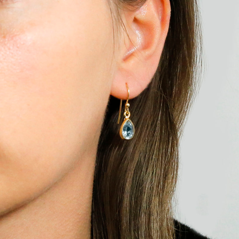 Gold Plated Blue Topaz Teardrop Earrings