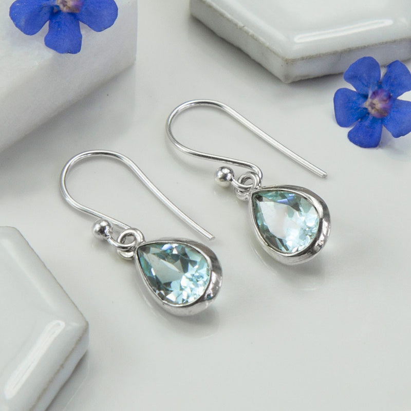 Sterling Silver Blue Topaz Teardrop Earrings