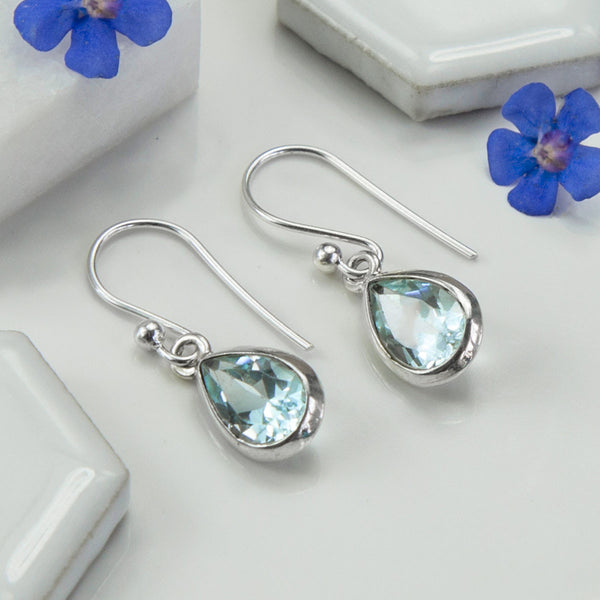 Silver Or Gold Blue Topaz Teardrop Earrings