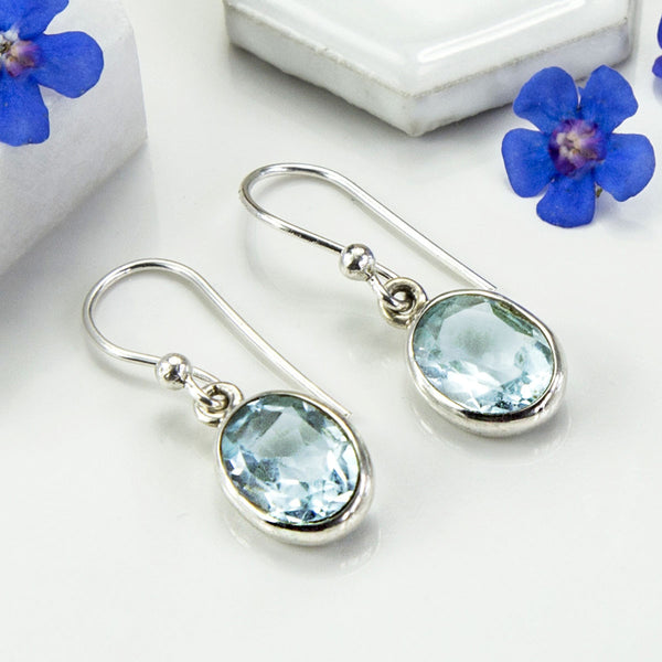 Silver Or Gold Blue Topaz Oval Earrings