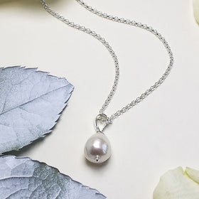 Silver Pear Shaped Pearl Necklace