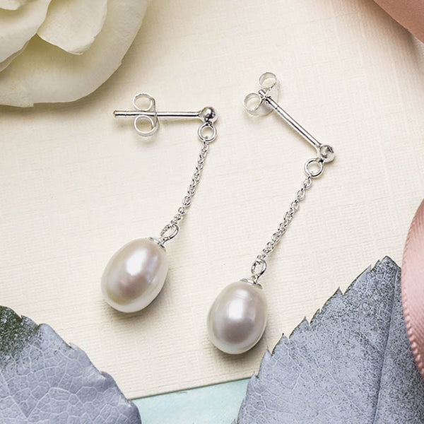 Silver And Pearl Chain Studs