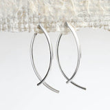 Sterling Silver Ribbon Bar Two Way Stud Earrings