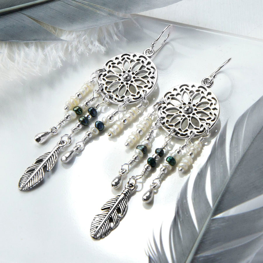 Sterling Silver and Pearl Dream Catcher Earrings