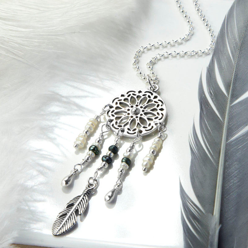 Sterling Silver and Pearl Dream Catcher Necklace