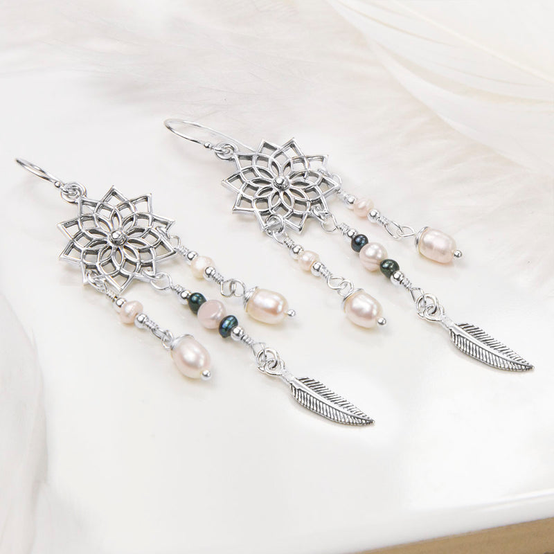 Sterling Silver and Pearl Star Dream Catcher Earrings