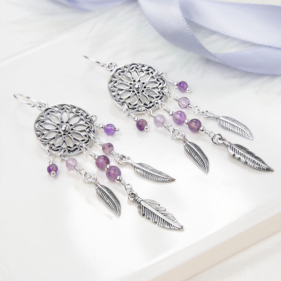 Sterling Silver and Amethyst Dream Catcher Earrings