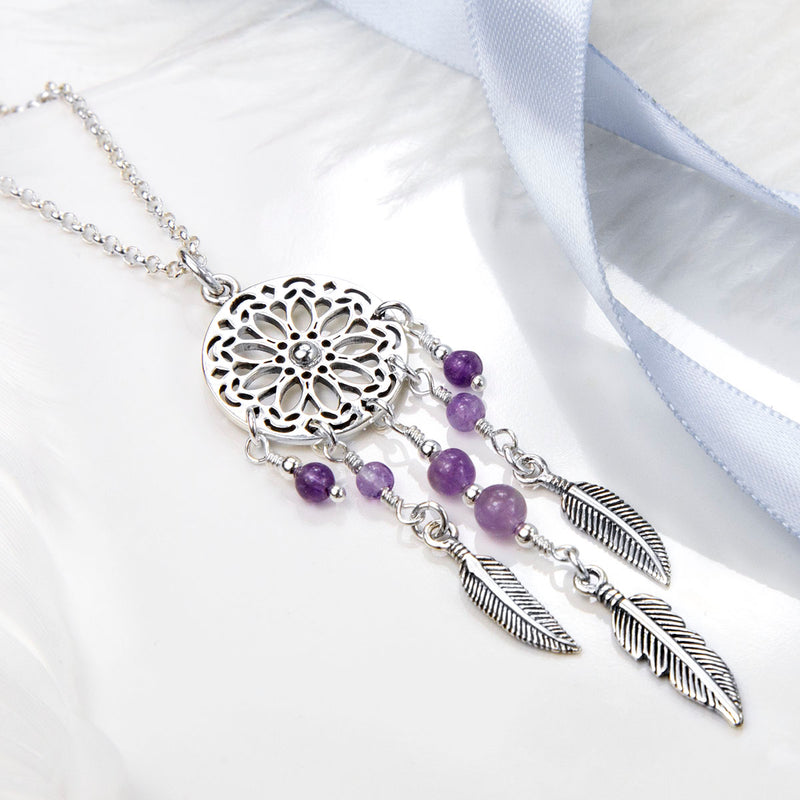 Sterling Silver and Amethyst Dream Catcher Necklace