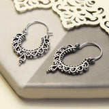 Sterling Silver Moroccan Hoop Earrings